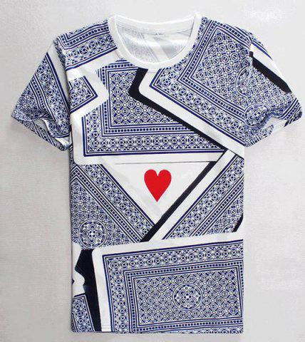 Cheap 3D Playing Cards Print Round Neck Short Sleeves T-Shirt For Men