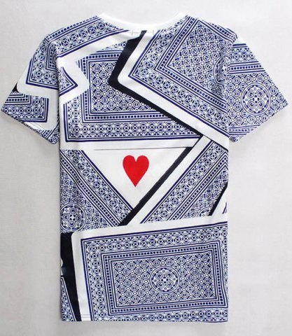 Sale 3D Playing Cards Print Round Neck Short Sleeves T-Shirt For Men - M COLORMIX Mobile