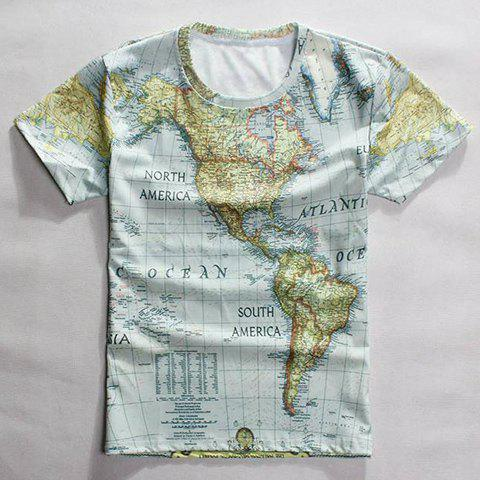 Casual Round Neck World Map Print Short Sleeves T-Shirt For Men - Colormix - 2xl