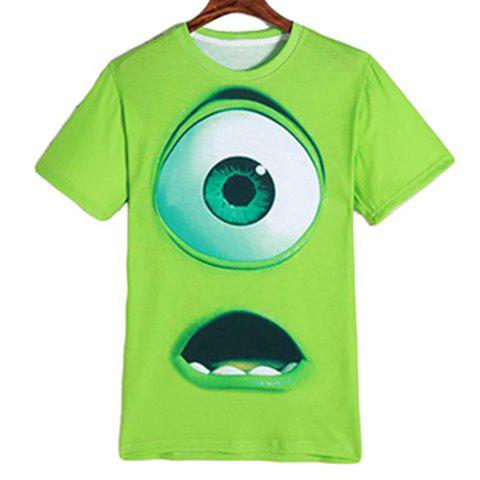 Chic Cartoon Eyes Mouth Print Round Neck Short Sleeves 3D T-Shirt For Men - L GREEN Mobile