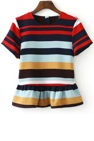 Cheap Stylish Round Neck Short Sleeve Stripe Ruffles Women's T-Shirt