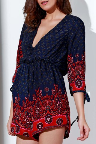 Fancy Stylish Plunging Neck 3/4 Sleeve Printed Cut Out Romper For Women