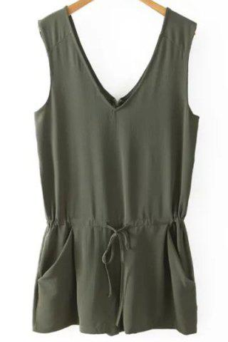 Small BLACKISH GREEN V Neck Sleeveless Solid Color Romper