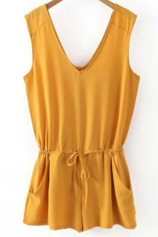 Small YELLOW V Neck Sleeveless Solid Color Romper