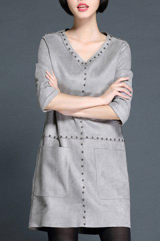 Best Sweet V-Neck Riveted A Line Dress For Women GRAY XL