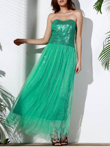 Trendy Bandeau Sequin Long Swing Prom Evening Dress GREEN M