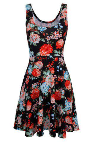 New Refreshing Sleeveless Flroal Print Women's Chiffon Dress - XL BLACK Mobile