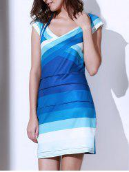 Sweetheart Neck Ombre Bandage Cocktail Dress - BLUE