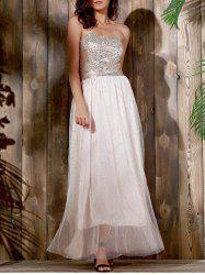 Strapless Sequin Long Swing Prom Evening Dress - KHAKI