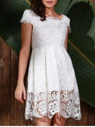 Vintage Scoop Collar Short Sleeve Pure Color Cut Out Lace Women's Dress - WHITE