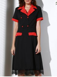 Vintage Turn-Down Collar Color Block Short Sleeve Dress For Women - BLACK