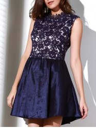 Elegant Solid Color Stand Collar Hollow Out See-Through Ball Gown Dress For Women -