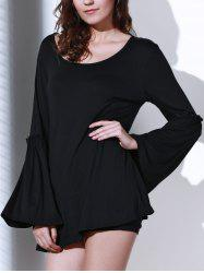Women's Stylish Pure Color Loose Scoop Neck Long Sleeve Dress