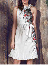 Vintage Round Collar Sleeveless Printed Pleated Dress For Women -