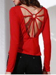 Stylish Scoop Neck Long Sleeve Backless T-Shirt For Women -