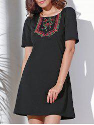Vintage Round Neck Short Sleeve Embroidered Women's Dress