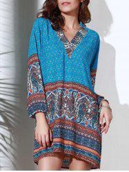 Ethnic Style Stand Collar 3/4 Sleeve Printed Women's Dress - BLUE S