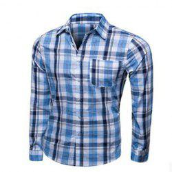 Fashion Turn-down Collar Color Block Plaid Long Sleeves Shirt For Men