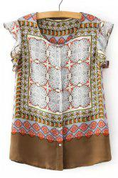 Vintage Ruffled Sleeve Ethnic Printed Blouse For Women -
