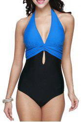 Brief Halter Patchwork Swimsuit For Women -