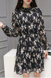Chic Stand Collar Long Sleeve Floral Print Chiffon Women's Dress -