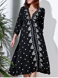 Refreshing Plunging Neck 3/4 Sleeve Embroidered Midi Dress For Women
