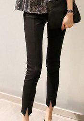 Simple Style High-Waisted Solid Color Slimming Women's Ankle Pants -