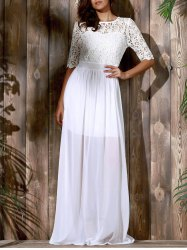 Elegant Half Sleeve Cut Out Lace Spliced Solid Color Maxi Dress For Women -