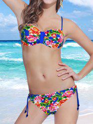 Stylish Spaghetti Strap Backless Floral Print Underwire Bikini Set For Women