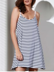 Spaghetti Strap Striped Loose-Fitting A Line Dress