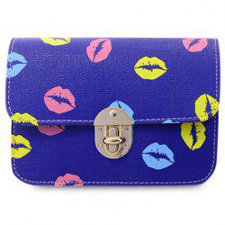 Stylish Chain and Lip Pattern Design Crossbody Bag For Women