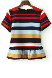 Stylish Round Neck Short Sleeve Stripe Ruffles Women's T-Shirt -