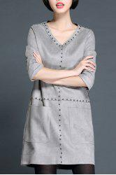 Sweet V-Neck Riveted A Line Dress For Women - GRAY XL