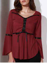 Stylish Sweetheart Neck 3/4 Sleeve Lace-Up Spliced Women's Blouse -