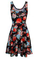Refreshing Sleeveless Flroal Print Women's Chiffon Dress
