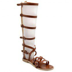 Fashionable Zipper and Buckles Design Sandals For Women -