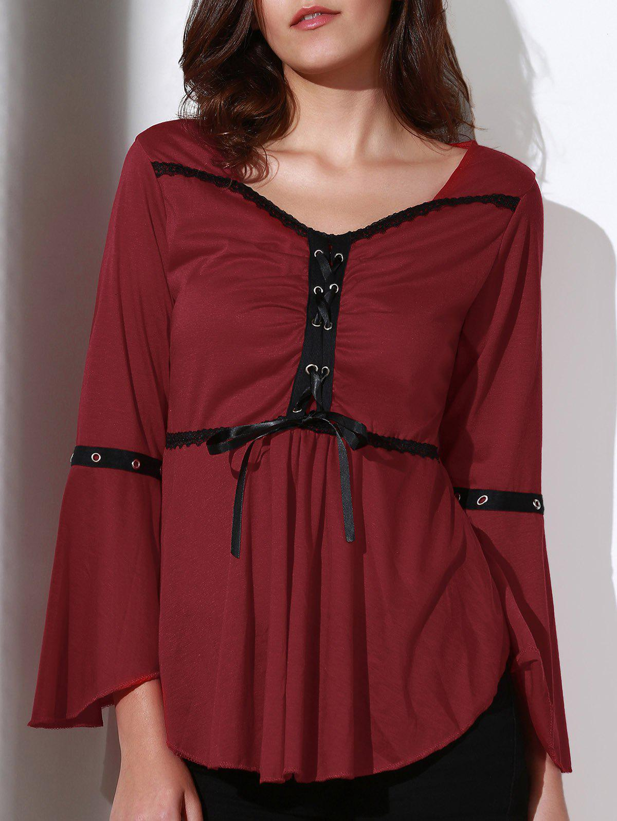 Best Stylish Sweetheart Neck 3/4 Sleeve Lace-Up Spliced Women's Blouse