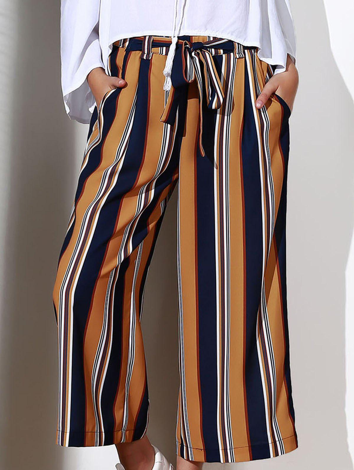 Outfit Chic High-Waisted Striped Pocket Design Women's Cropped Pants