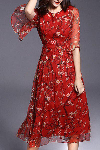 2018 Bohemian Style Round Collar Floral Print Half Sleeve