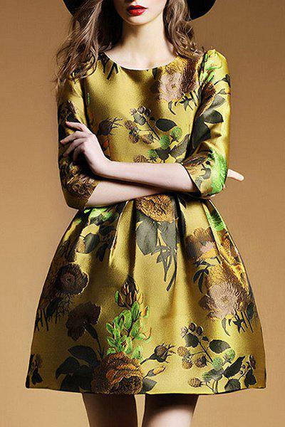 New Retro Style Round Collar Embroidery 3/4 Sleeve Dress For Women