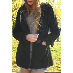 Hooded Double-Pocket Flocking Long Sleeve Long Winter Coat