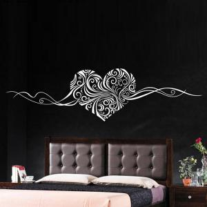 Heart Vine Pattern Bedroom Decorative Stickers For Wall - White - One Size