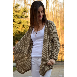 Casual Collarless Long Sleeve Knitted Cardigan For Women - KHAKI S