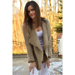 Casual Collarless Long Sleeve Knitted Cardigan For Women - KHAKI XL