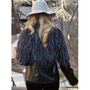 Faux Fur PU Leather Jacket -