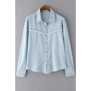 Casual Turn-Down Collar Long Sleeve Frayed Bleach Wash Women's Denim Shirt - Light Blue - L