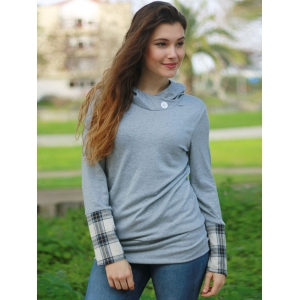 Stylish Hooded Long Sleeve Spliced Plaid Women's Hoodie -