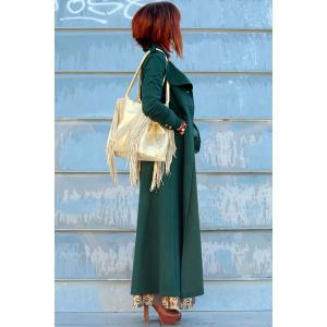 Elegant Solid Color Turn-Down Collar Tunic Maxi Coat For Women -