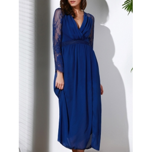 Plunging Neck Long Sleeve Furcal Flowing Prom Dress - Deep Blue - Xl