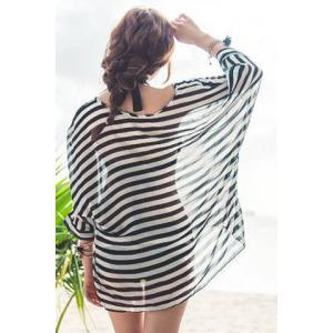 Sexy Halter Stripe Three Piece Swimsuit For Women - WHITE AND BLACK M